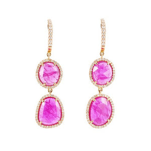 Rosecut Ruby Double Drop Earrings