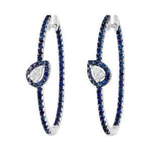 Blue Sapphire and Diamond Oval Hoop Earrings