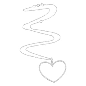 Oversized Open Diamond Heart Necklace