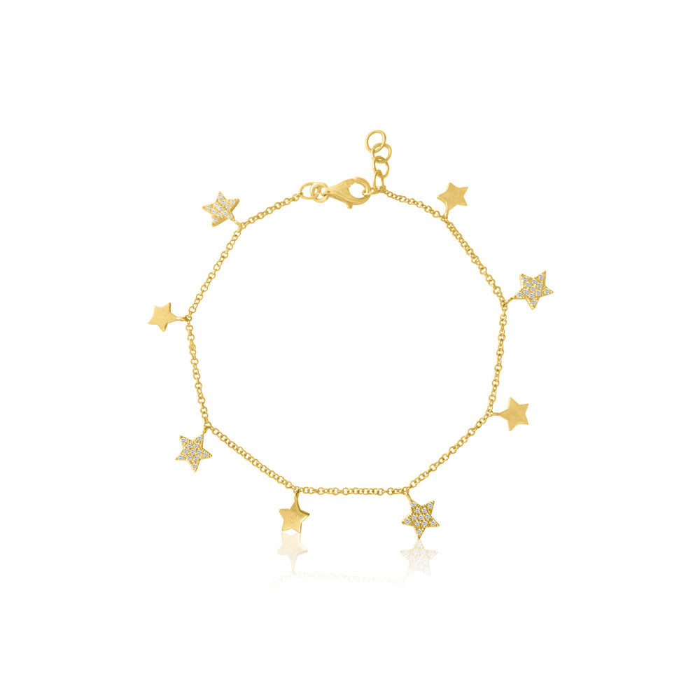 Micro Pave Diamond Star Bracelet