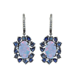 Mixed Media Opal and Blue Sapphire Single Drop Earrings