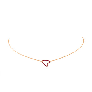Sideways Pave Heart Necklace