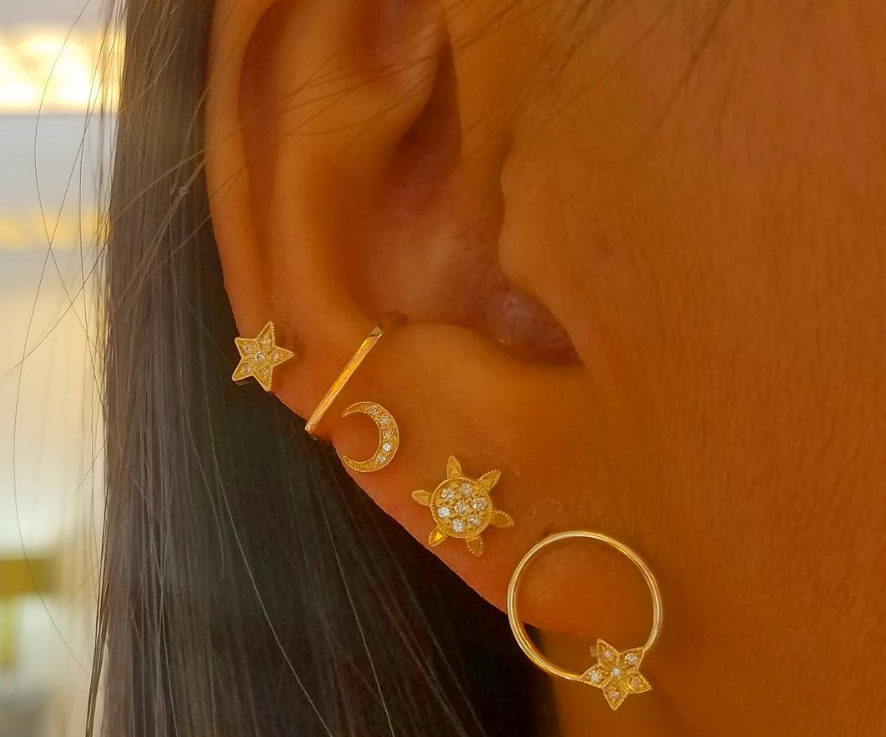 Mini Rising Star Circle Earrings