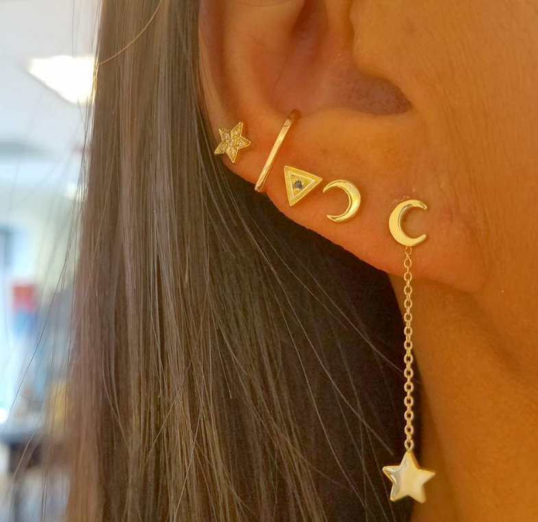 Mini Half Moon and Star Gold Stud Earrings
