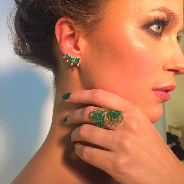 Emerald Teardrop Ear Climbers