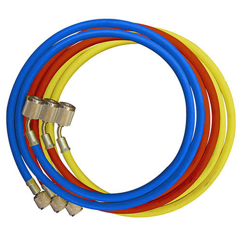 "Mastercool 46360 Set of 3-60"" GY5 Hoses w/Shut-Off Valve Fitting Nylon Barrier Hoses"