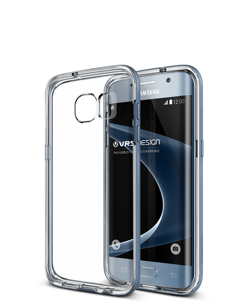 VRS Design Case Galaxy S7 Edge Crystal Bumper Coral Blue