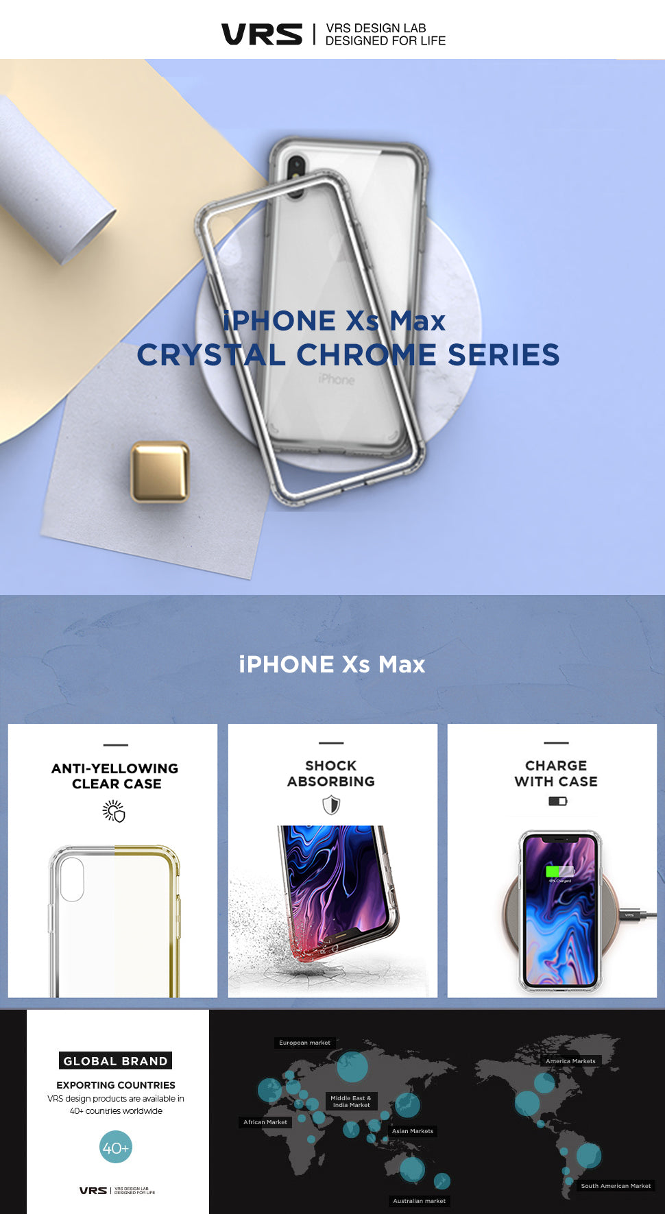 Best Clear Case for iPhone Xs Max Crystal Chrome Series From VRS Design