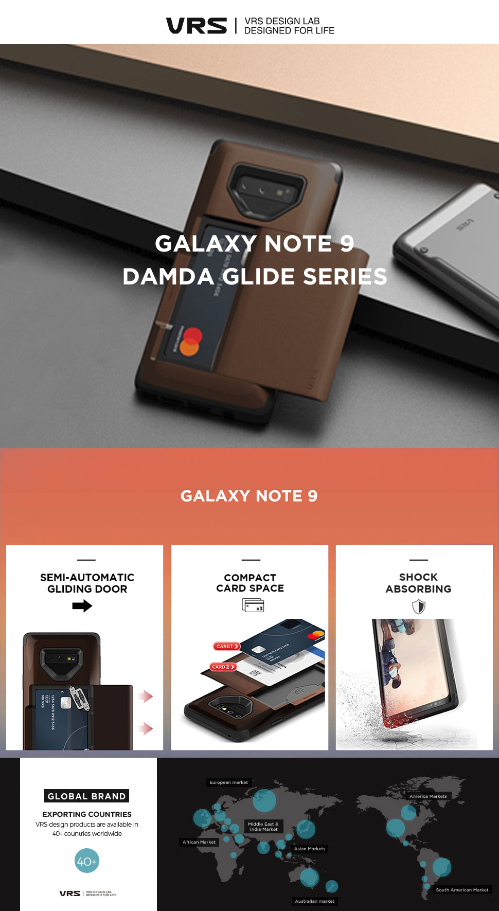 Best Compact Case for Galaxy Note 9 Damda Glide Series From VRS Design