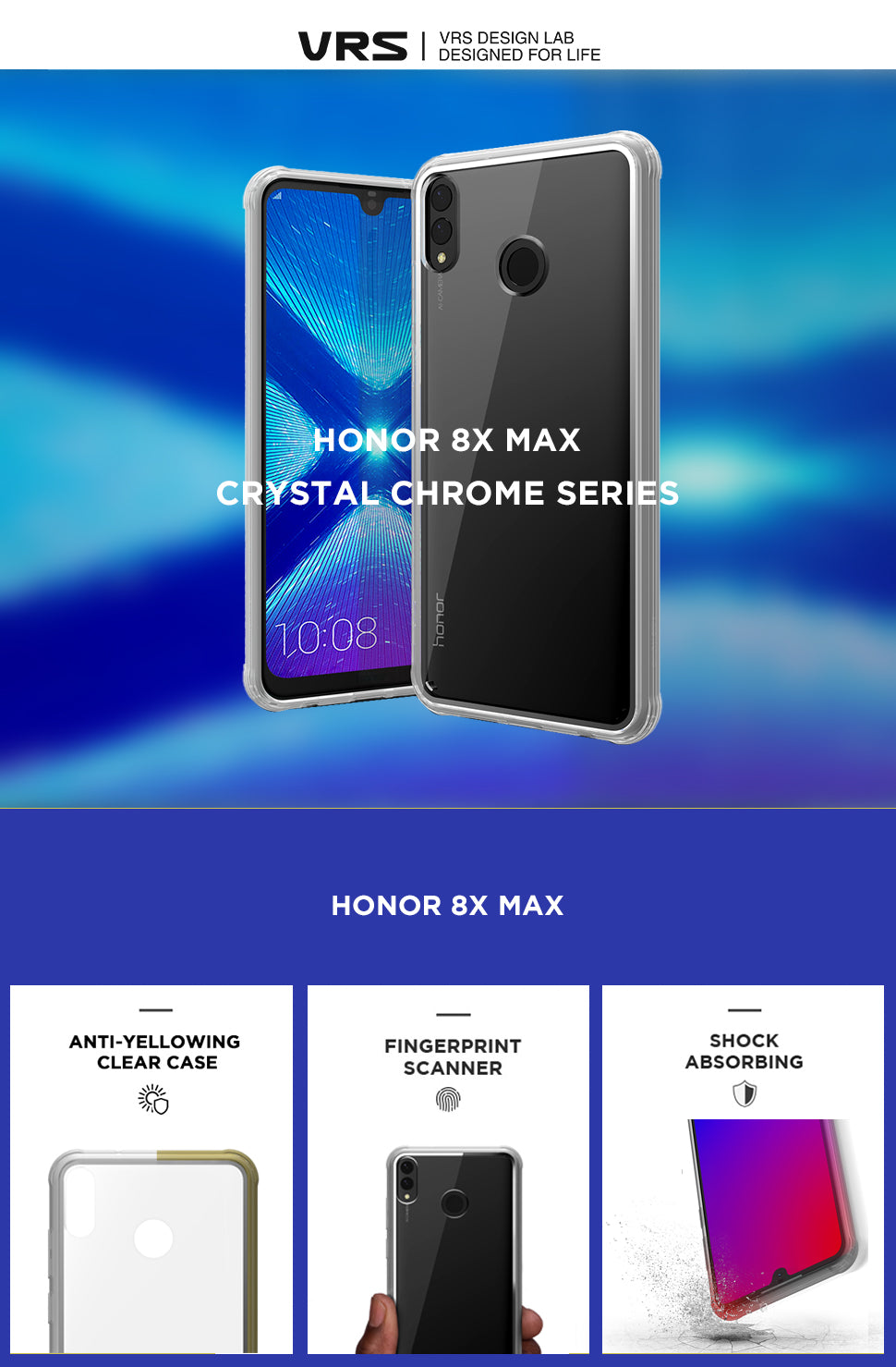 VRS Design | Honor 8x Max Crystal Chrome Case Series | The Best Huawei Case