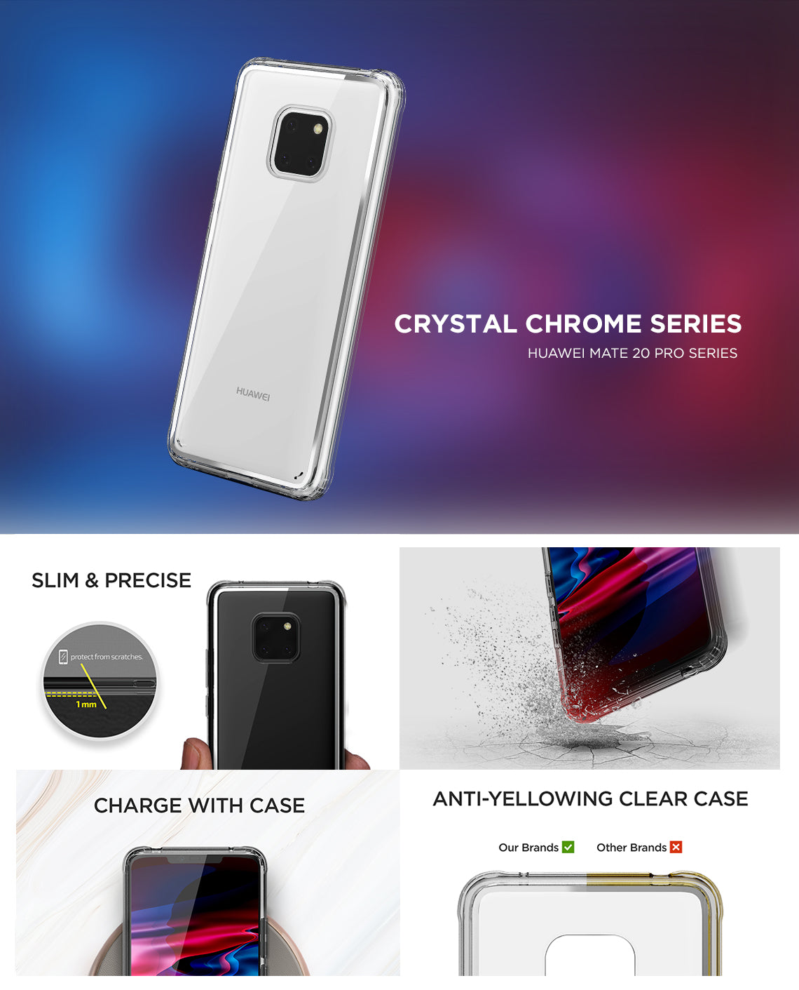 VRS Design | Crystal Chrome Series for Huawei Mate 20 Pro - Clear