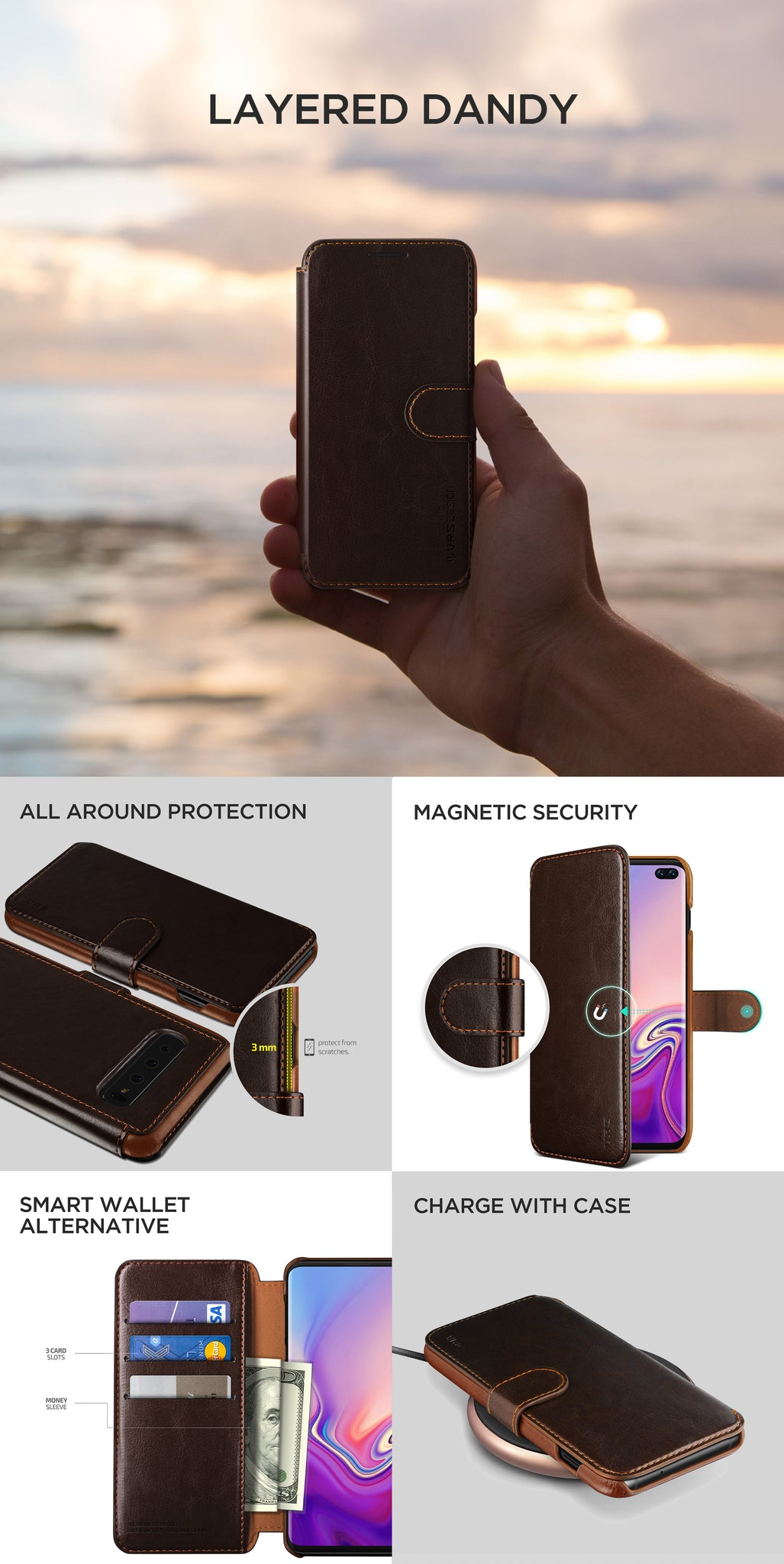 VRS Design | The Best Wallet Case for Galaxy S10 Plus - Brown