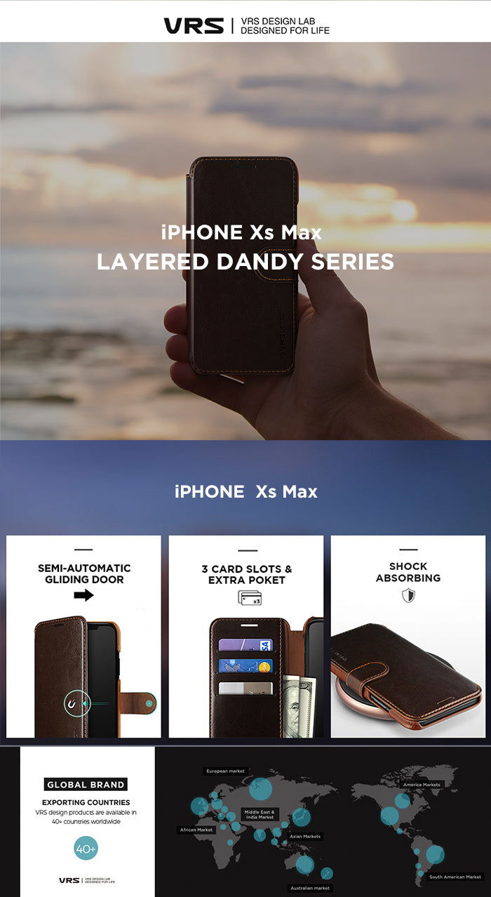 Best Leather Case for iPhone Xs Max Layered Dandy Diary Series From VRS Design