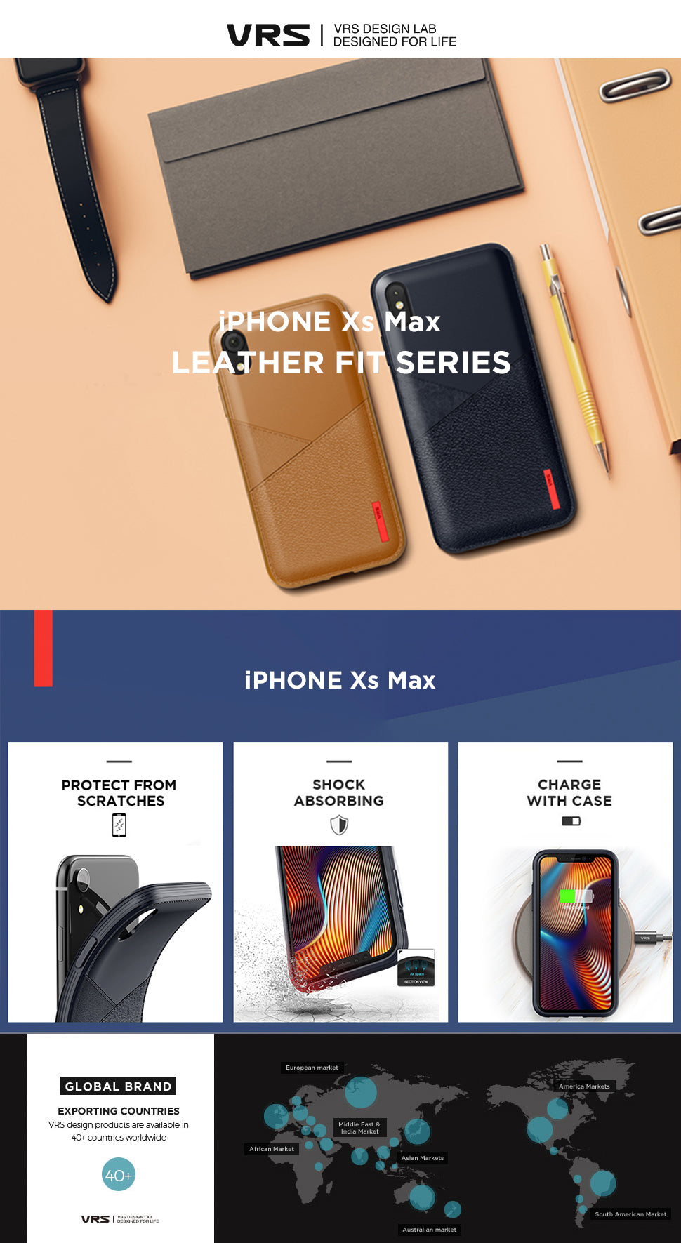 Best Slim Case for iPhone Xs Max Leather Fit Series From VRS Design