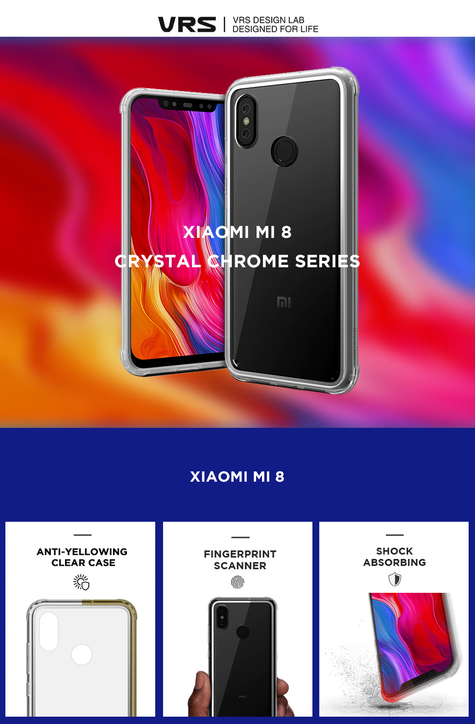 VRS Design | Xiaomi mi 8 Crystal Chrome Case Series | The Best Xiaomi Case