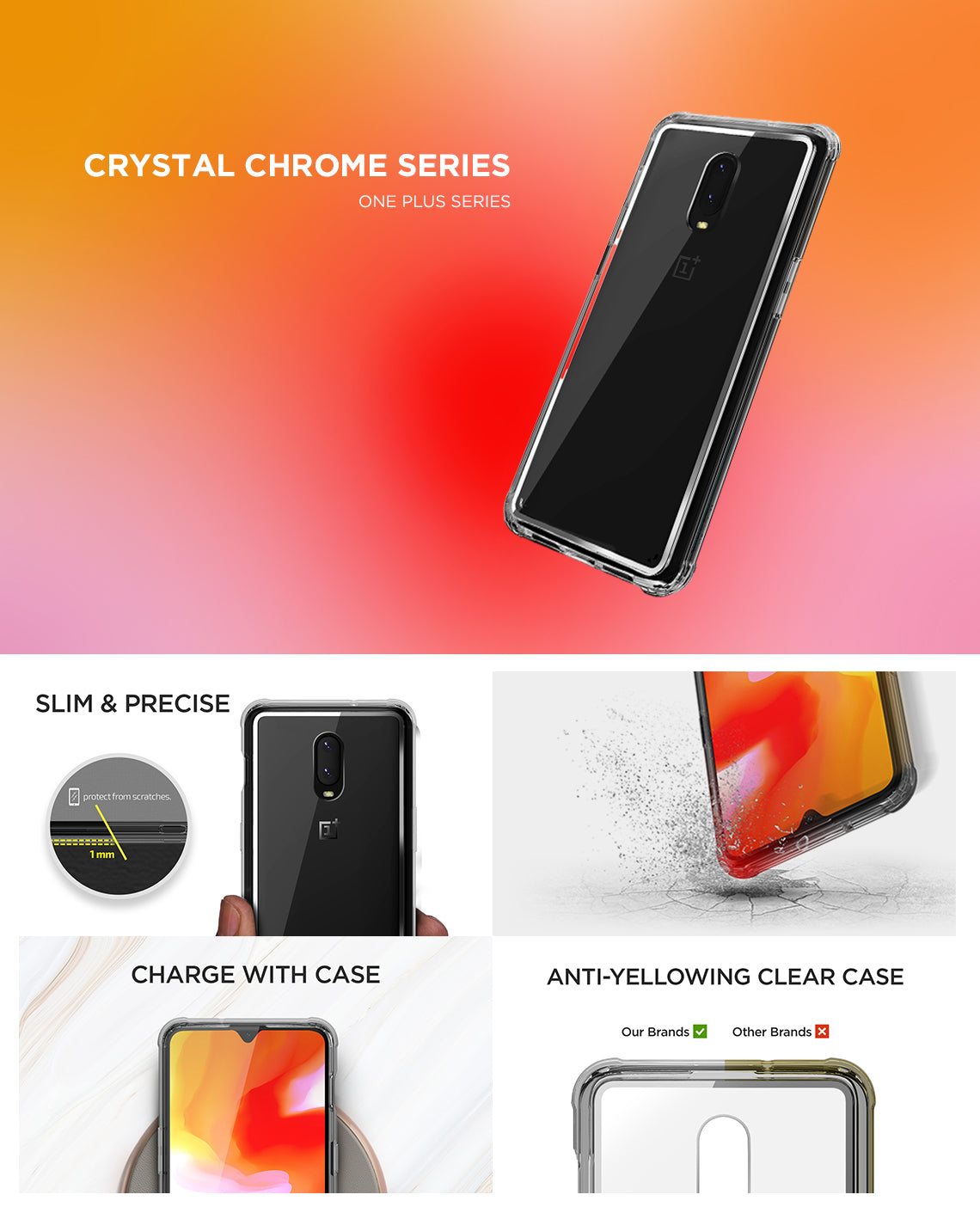 VRS Design | Crystal Chrome Series for OnePlus 6T - Clear