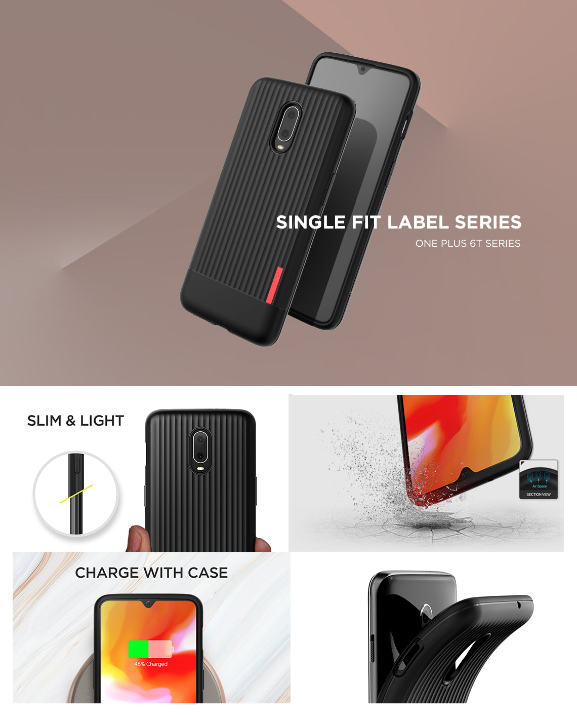 VRS Design | Single Fit Label Series for OnePlus 6T - Black