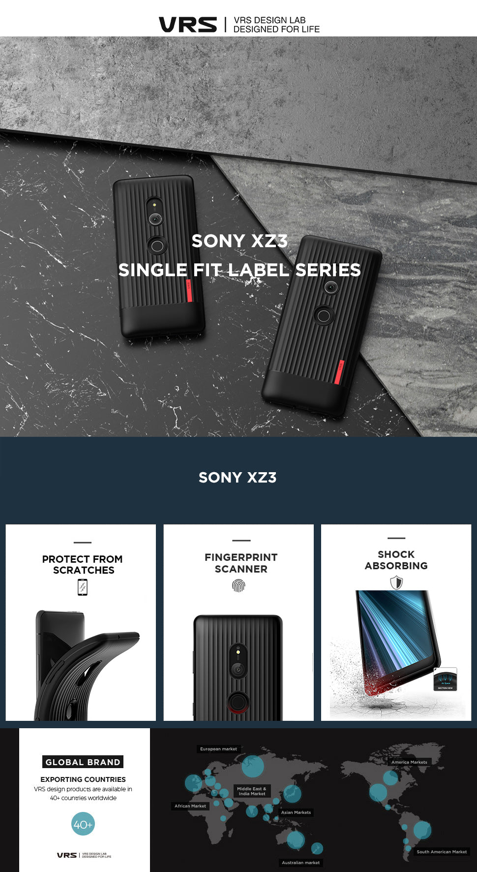 Best Clear Case for Sony XZ 3 Single Fit Label Series From VRS Design
