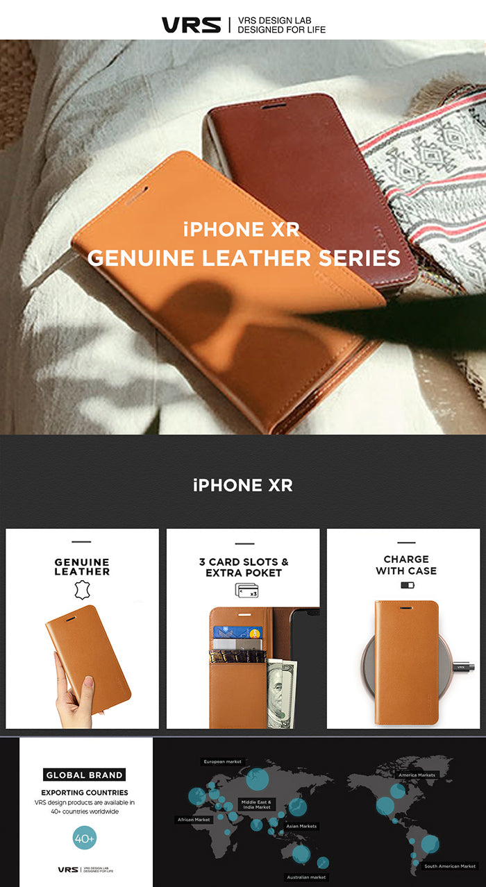 Best Leather Case for iPhone XR Genuine Leather Diary Series From VRS Design