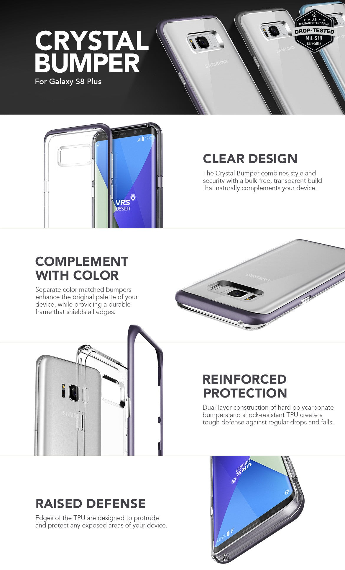 VRS Design Galaxy S8 Plus Case, Crystal Bumper Series