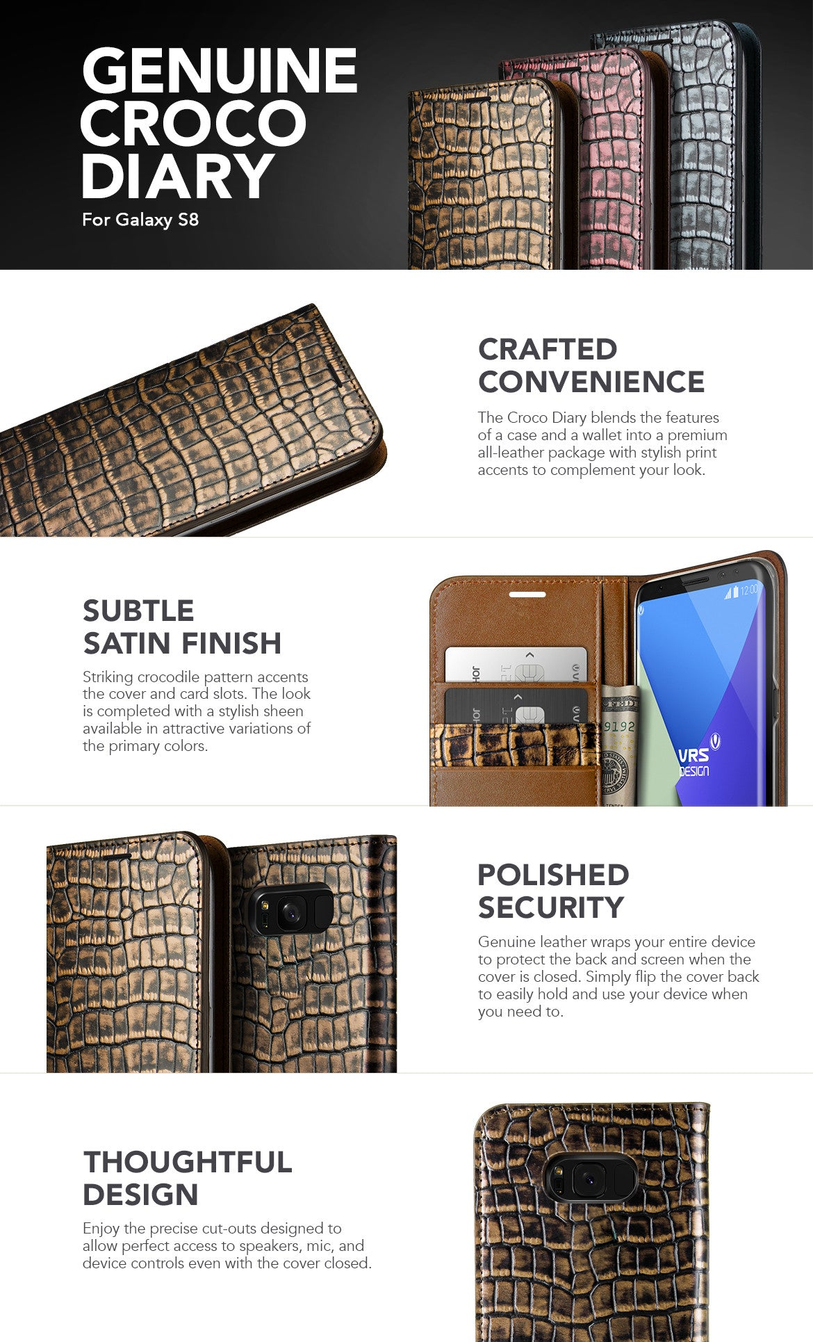 VRS Design Galaxy S8 Case, Croco Diary Series