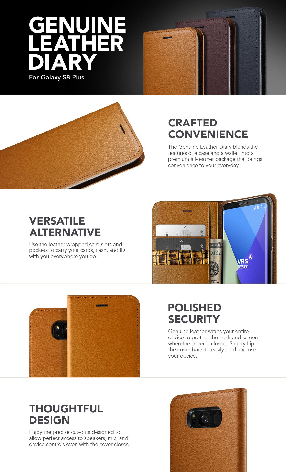 VRS Design Galaxy S8 Plus Case, Genuine Leather Diary Series
