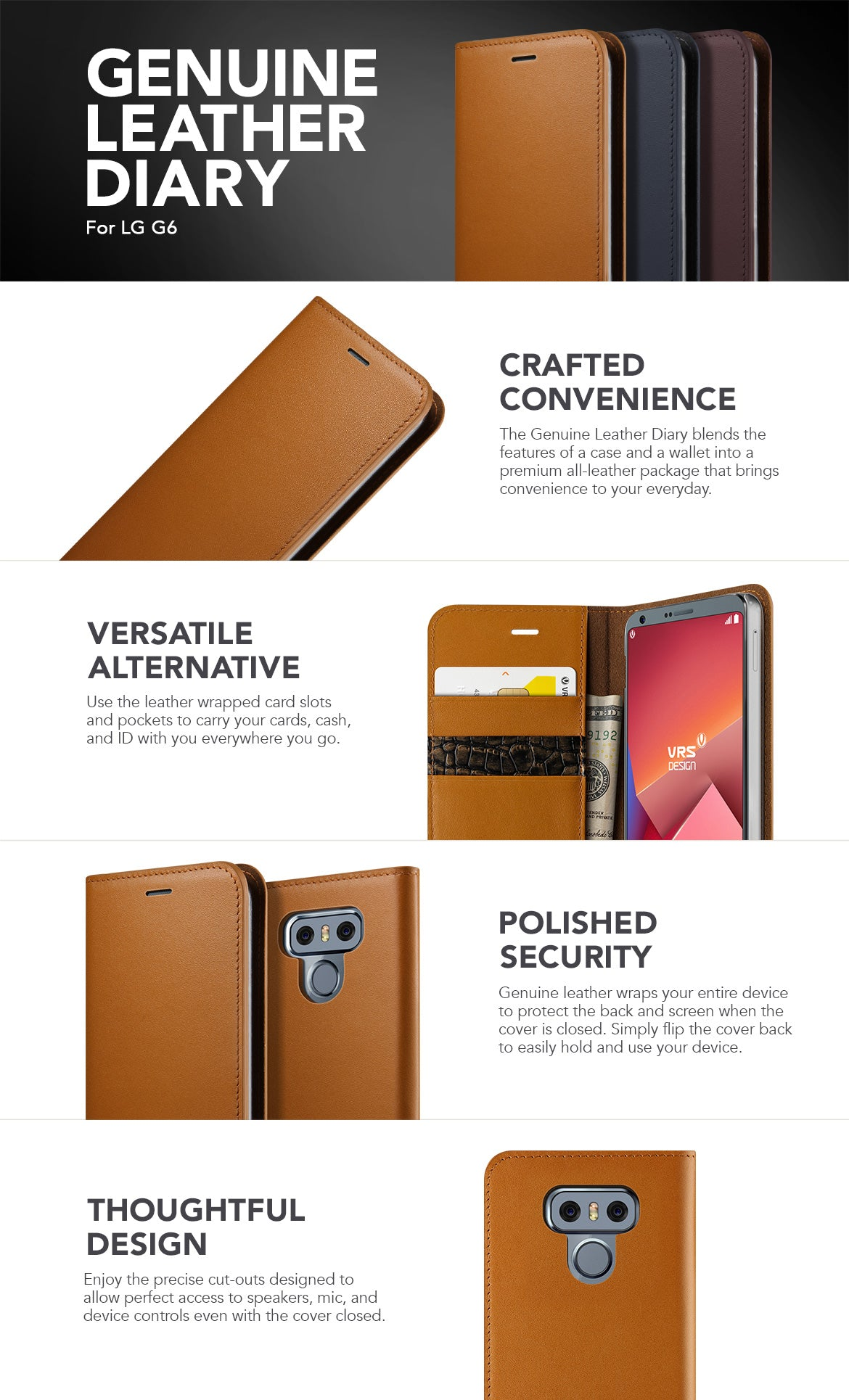 VRS Design LG G6 Case, Genuine Leather Diary Series