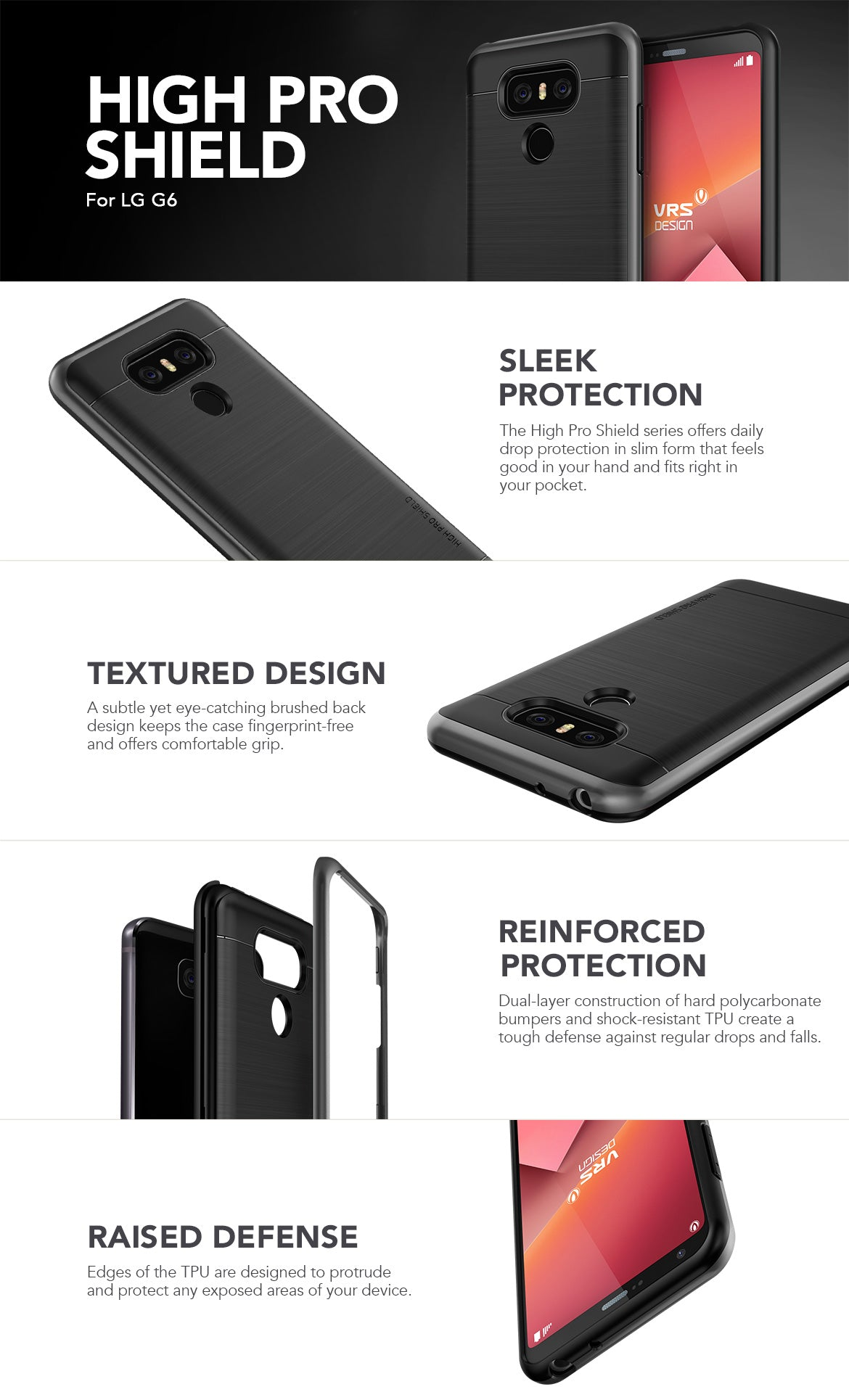 VRS Design LG G6 Case, Simpli Fit Series
