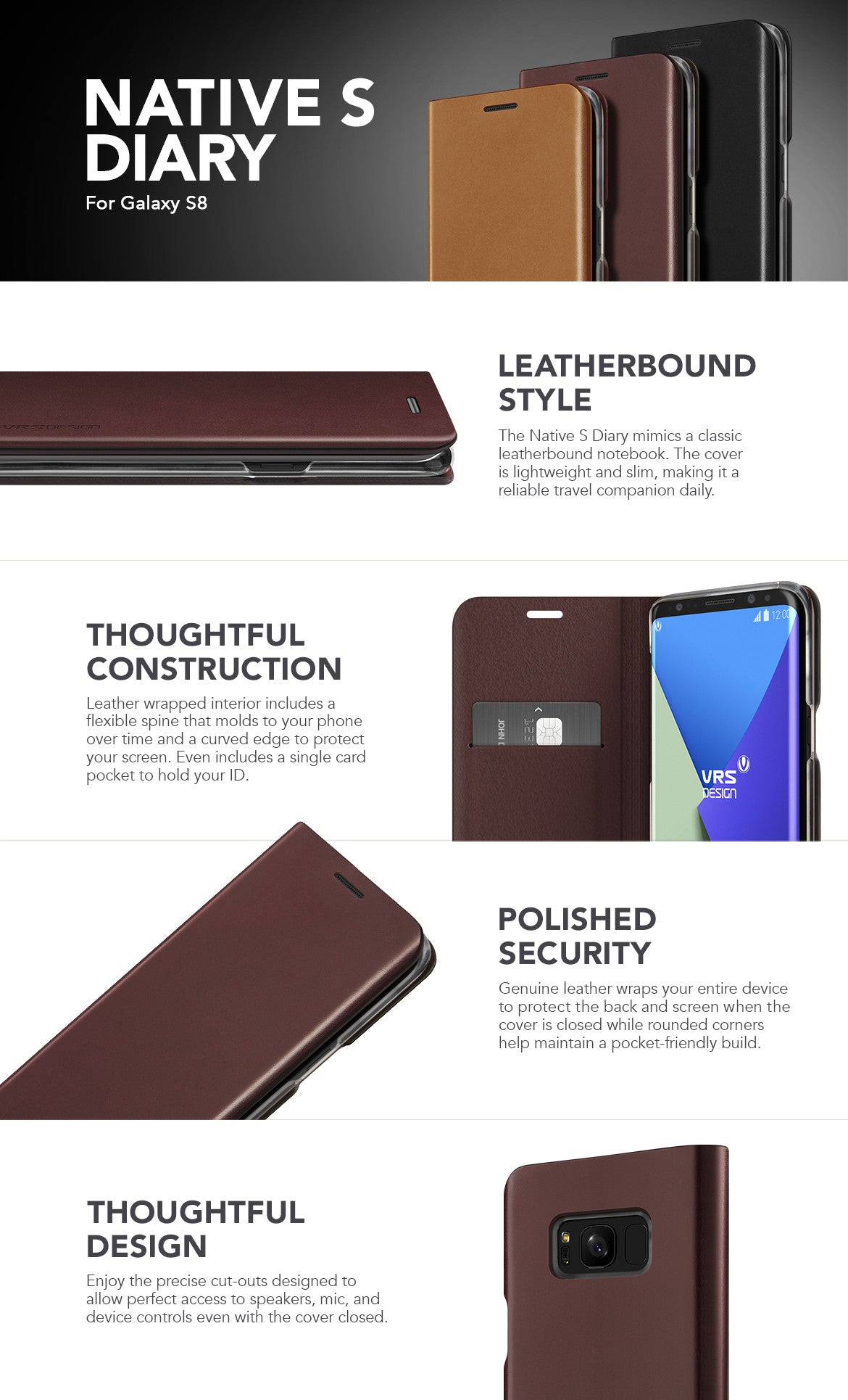 VRS Design Galaxy S8 Case, Native S Diary Series
