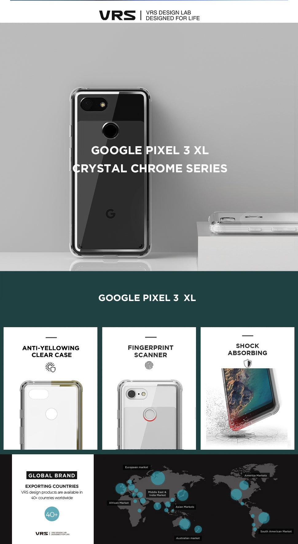 Best Clear Case for Google Pixel 3 XL Crystal Chrome Series From VRS Design