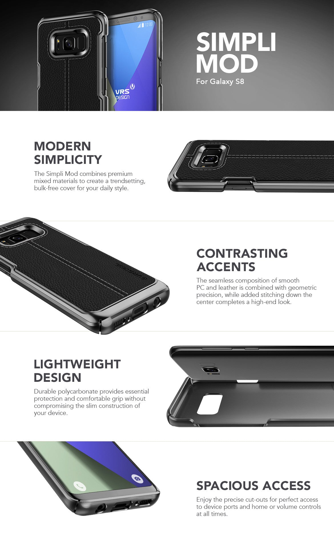 VRS Design Galaxy S8 Case, Simple Mod Series