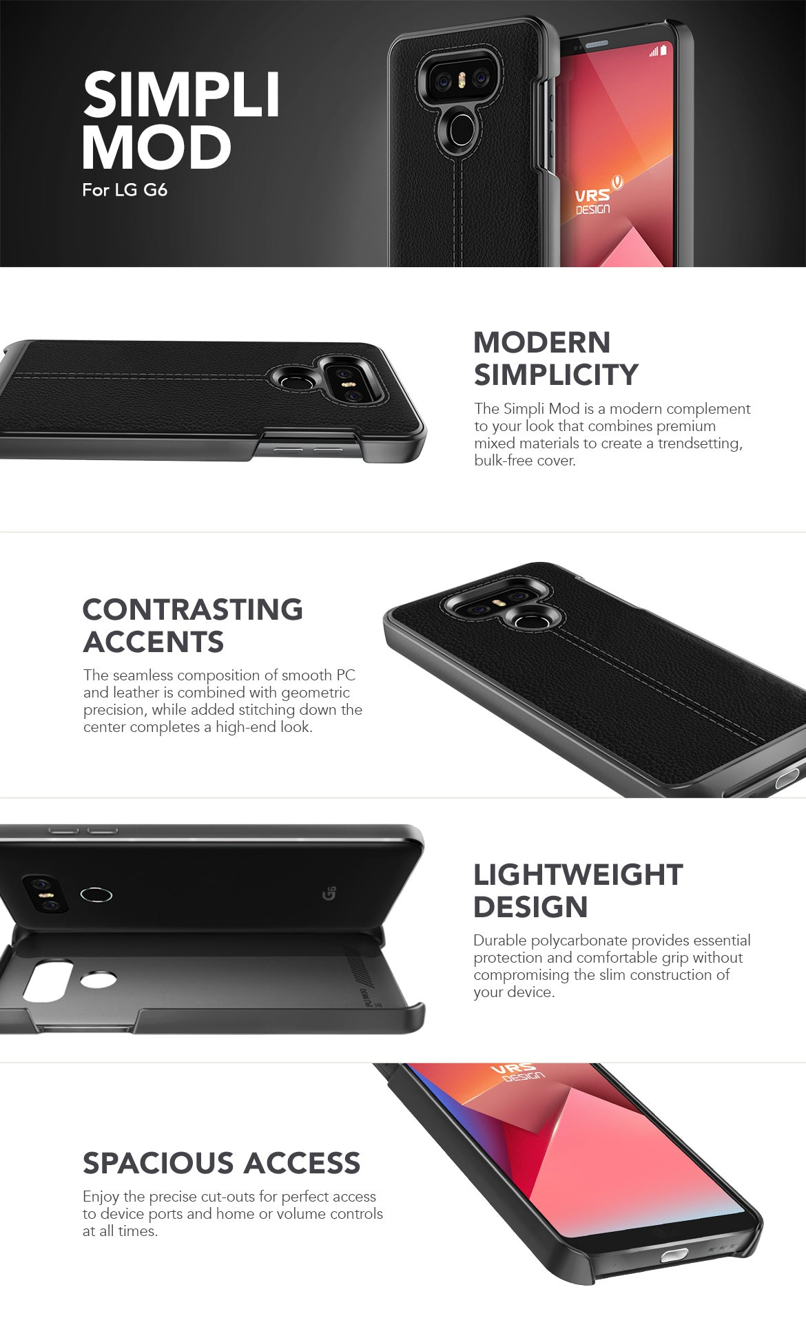 LG G6 Case, VRS Design Simpli Mod Series Black