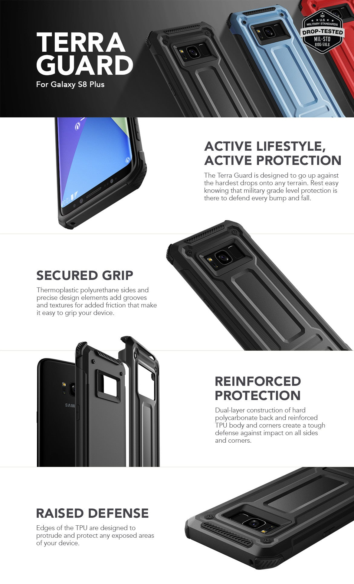 VRS Design Galaxy S8 Plus Case, Terra Guard Series