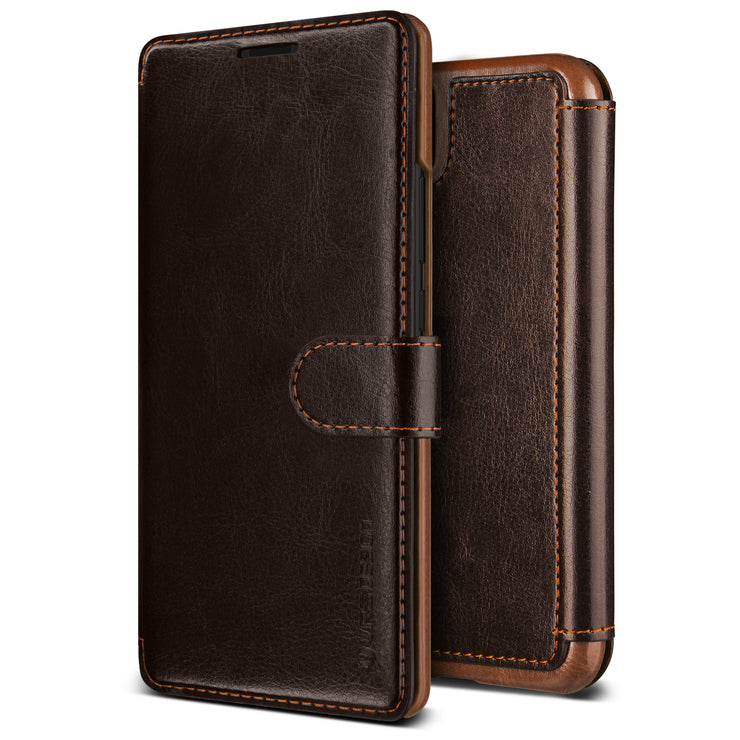 VRS Design | Huawei P30 Pro Case Layered Dandy Leather Wallet Case - Coffee Brown
