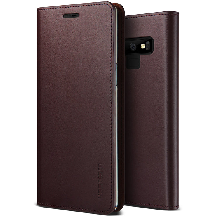VRS Design | Genuine Leather Diary Case for Galaxy Note 9 - Wine