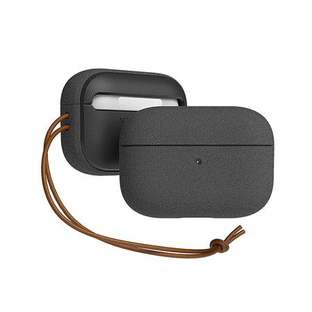 Best Minimalist EDC Apple AirPods Pro hard Sandstone case. Durable lightweight and scratch resistance, the new Apple AirPods Pro Wireless Charge compatible case is pocket friendly and portable. Inspired by pebble stones, the Apple AirPods Pro Sandstone case is top notched, secured with premium genuine leather strap