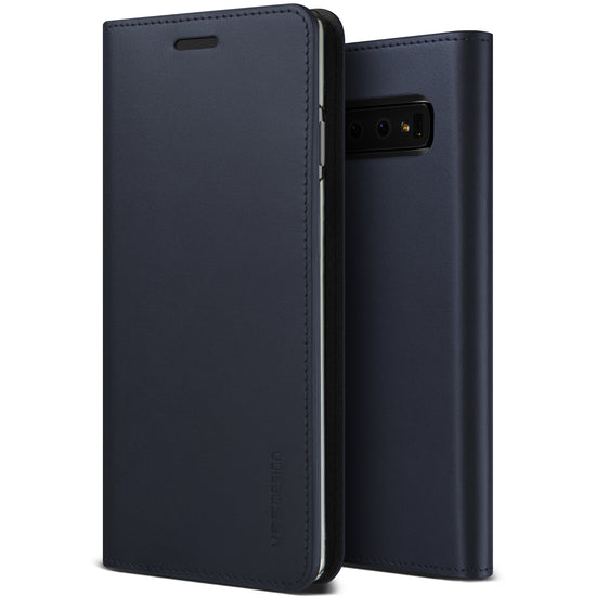 VRS Design | Samsung Galaxy S10 Genuine Leather Diary Leather Wallet Case Cover - Navy