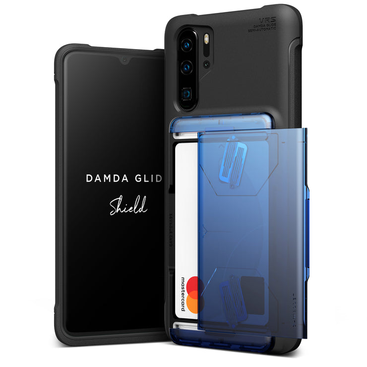VRS Design | Huawei P30 Pro Case Damda Glide Shield Wallet Card Case - Blue Black