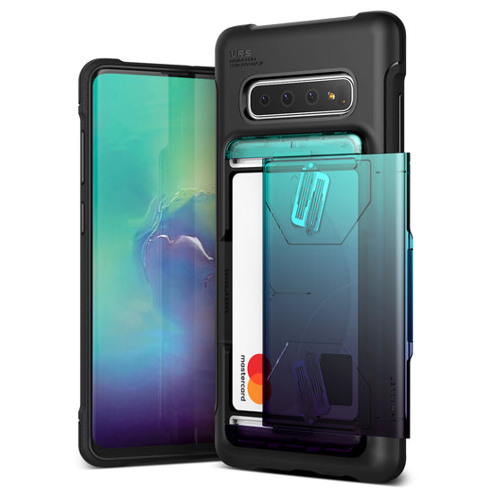 VRS Design | Samsung Galaxy S10 Plus Case Damda Shield Wallet Card Case - Green Purple