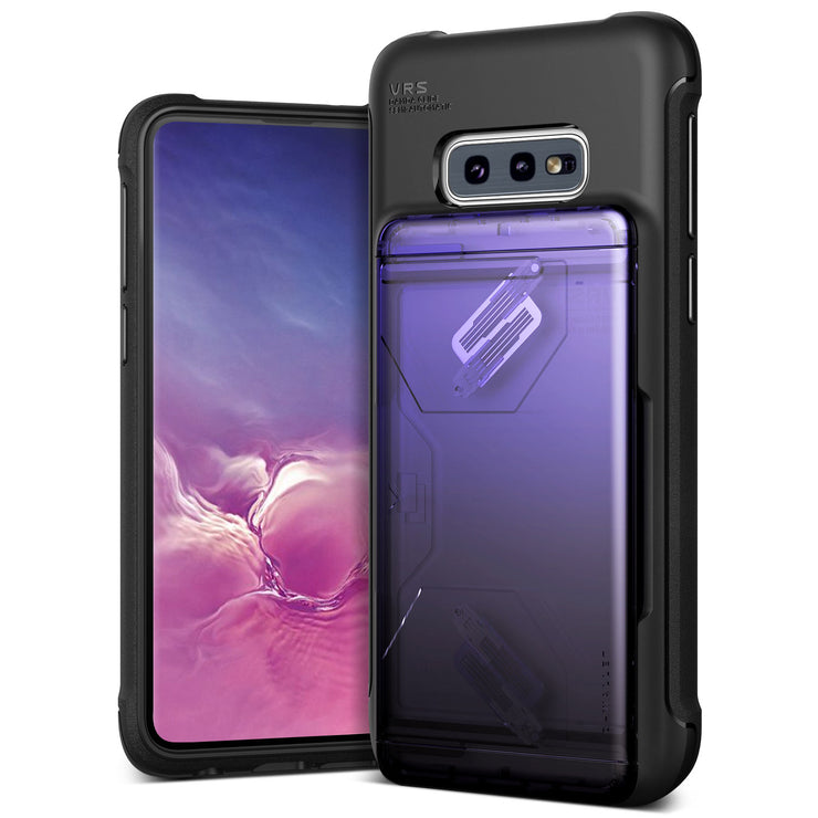 VRS Design | Samsung Galaxy S10e Case Damda Shield Wallet Card Case - Purple Black