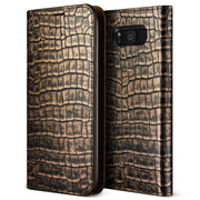 VRS Design | Genuine Croco Diary Case for Galaxy S8 - Dark Gold