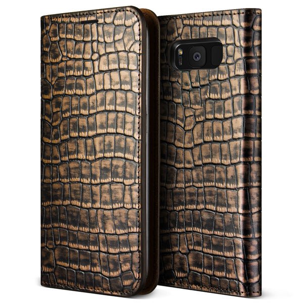 VRS Design [Genuine Croco Diary Series] Samsung Galaxy S8 Case - Dark Gold - Main