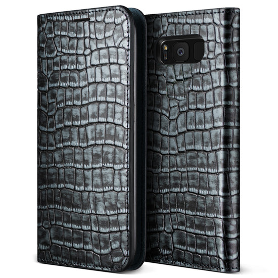 VRS Design | Genuine Croco Diary Case for Galaxy S8 Plus - Satin Blue