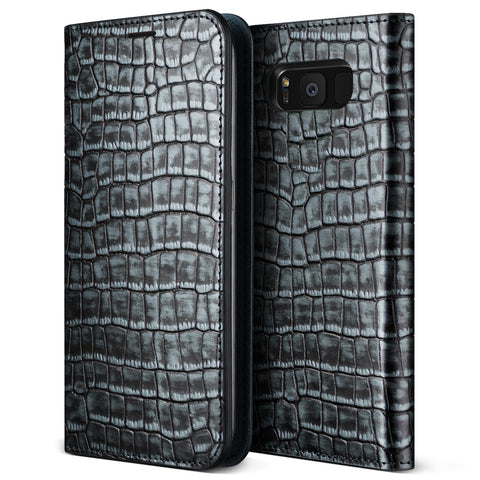VRS Design [Genuine Croco Diary Series] Samsung Galaxy S8 Plus Case - Satin Blue - Main