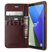 VRS Design | Genuine Leather Diary Case for Galaxy S8 Plus - Wine Red