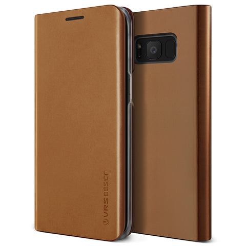 VRS Design [Genuine Croco Diary Series] Samsung Galaxy S8 Plus Case - Brown - Main