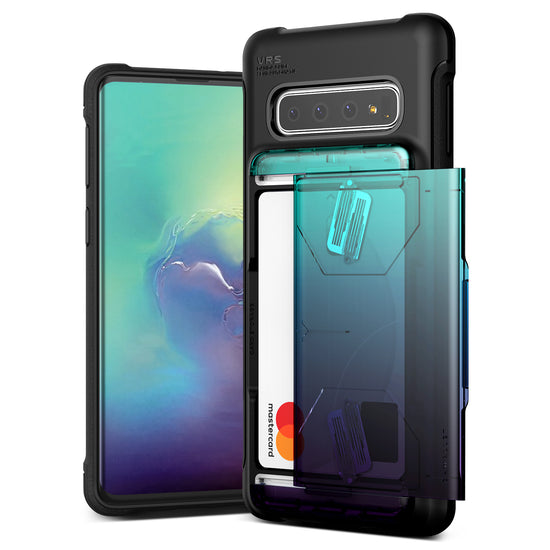 VRS Design | Samsung Galaxy S10 Case Damda Shield Wallet Card Case - Green Purple