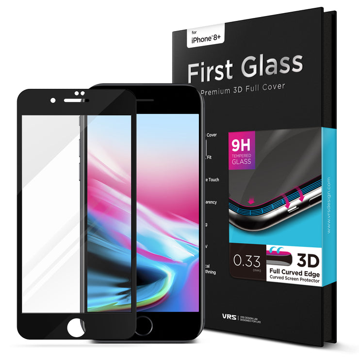 VRS Design | First Glass Screen Protector for iPhone 8 Plus/7 Plus - Black