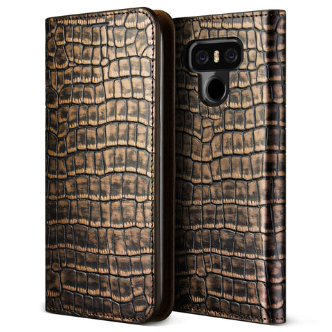 VRS Design [Genuine Croco Diary Series] LG G6 Case - Dark Gold - Main