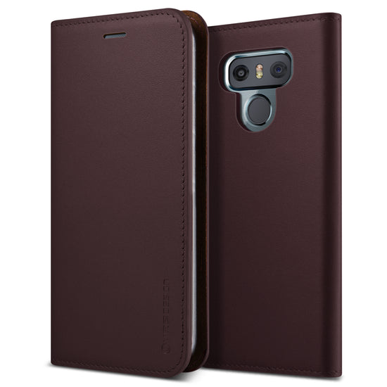 VRS Design | Genuine Leather Diary Case for LG G6 - Wine Red